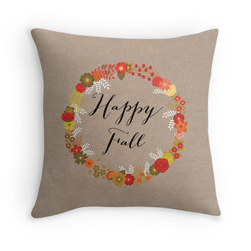 Happy Fall Burlap Look Pillow Cover, Decorative Throw, Fall Decor, Thanksgiving