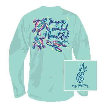 Be You Tiful Long Sleeve Tee Shirt in Celadon by MG Palmer