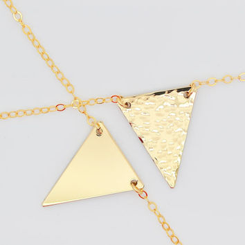 Triangle Necklace, Geometric Necklace, Gold Necklace, Gold Dainty Necklace in 14k Gold, Sterling Silver, Rose Gold Filled