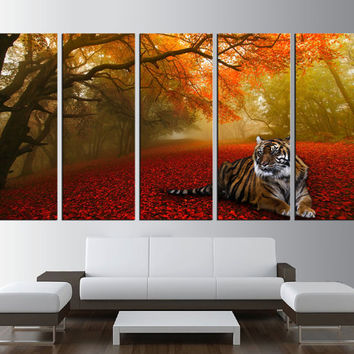 forest wall art canvas, tiger canvas print, spring trees Large wall Art, large canvas print, extra large wall art, tiger canvas print t280
