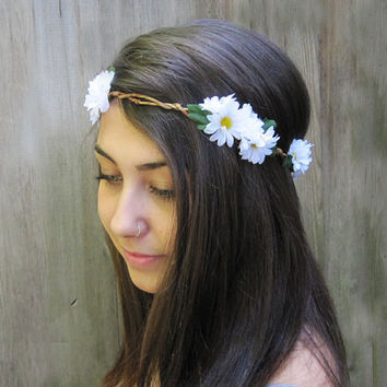 Daisy Headband, Daisy Headwrap, EDC, Daisy Flower Crown, Hippie Headband, Daisy Chain, Beach Wear, Festival Wear, Beach, Hipster
