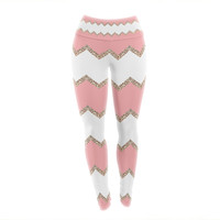 "Monika Strigel ""Avalon Coral Chevron"" White Blush Yoga Leggings"