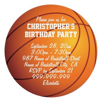 Basketball Birthday Party 5.25x5.25 Square Paper Invitation Card