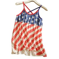 Women's American USA Flag US Stars & Stripes Tank Shirt Free Size