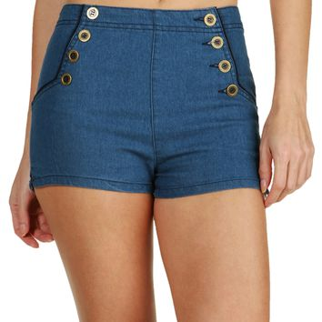 Sale--denim Warming Up High Rise Shorts