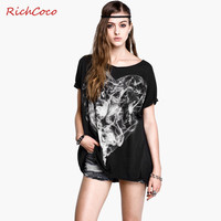 Stylish Cotton Round-neck Short Sleeve Black T-shirts [9022454020]