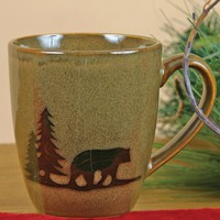 DEI Woodland River Bear Mug (Green)