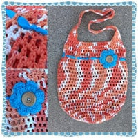 Tote- Peach and Hot Blue Flower