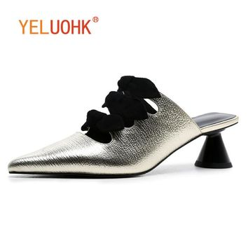 34-40 Genuine Leather Shoes Women Heels Top Quality Pumps Shoes Heel Women Sexy Big Size 4 CM
