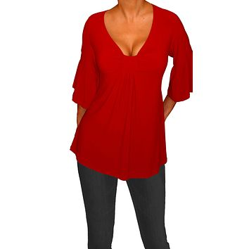 Funfash Plus Size Red Womens Empire Waist Slimming Top Shirt Blouse