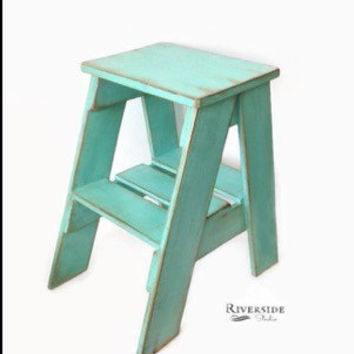 Rustic Side Table/ Step Stool /Shabby Chic Furniture / Bedroom Side Table / Cottage Farmhouse Ladder / Ships from Canada