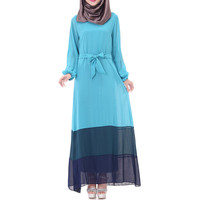 Muslim Motley Long Dress Chiffon Robe   sky blue