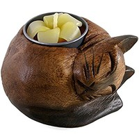Fair Trade Wooden Cat Tealight Candle Holder