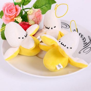 3Pcs/Set Mini 7CM Kawaii Cartoon Banana Plush TOY Phone Strap BAG Pendant Decor TOY Key Chain DOLL Stuffed TOY Bouquet DOLL TOY