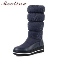 Meotina Winter Shoes Snow Boots Plush Platform Wedge Heel Boots Glitter Pleated Waterproof Mid Calf Boots 2018 Black Size 35-44