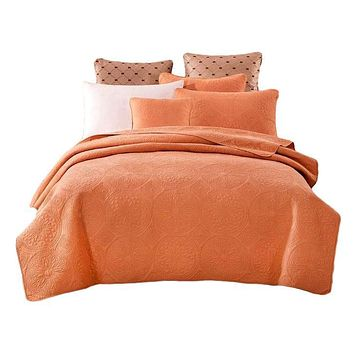 Tache Cotton Stone Washed Tuscany Sunrise Orange Medallion Bedspread (JHW-595)