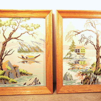 Vintage Paint By Number / Oriental Paint By Number / Vintage Asian Wall Art / Zen Wall Hanging / Boho Art
