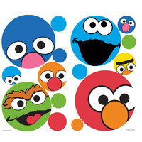 Sesame Street Polka Dot Faces Wall Sticker Set 27pc Decals