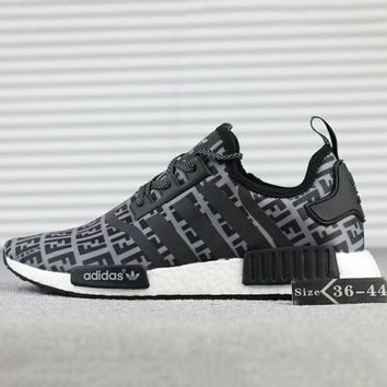 FENDI x Adidas NMD R1 Boost Fashion Casual Running Sneakers Shoes Black G-SSRS-CJZX