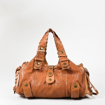 "Chloe Brown Distressed Leather Whipstitch ""Silverado"" Satchel Bag"