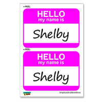 Shelby Hello My Name Is - Sheet of 2 Stickers