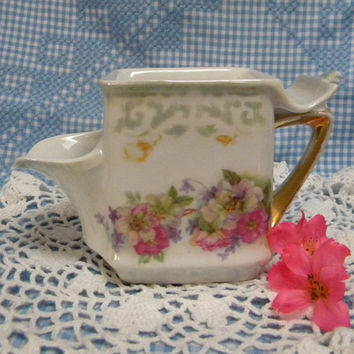 German porcelain shaving mug scuttle style Victorian floral style