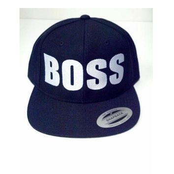 BOSS Custom Embroidery Hat Flat Bill Snapback Black Hat with Embroidered Logo. Made to order snap back hats and designs