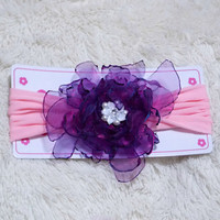 baby head band with Iridescent Fuschia blueish Organza flower on pink Headband.