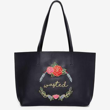 Skinnydip London Wasted Embroidered Tote Bag