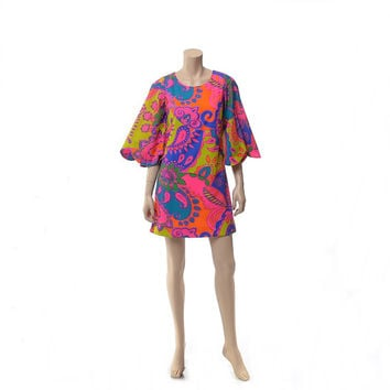Vintage 70s Mod Neon Psychedelic Hawaiian Mini Dress 1970s Groovy Flower Power Paisley Bell Sleeve Carnaby Street Style Hippie Boho Dress