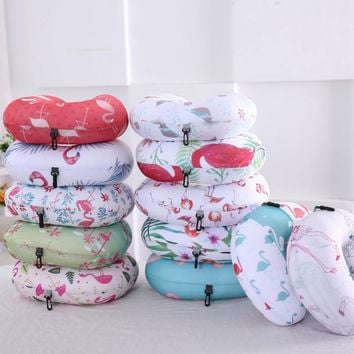 Soft U Shape Shaped Travel Neck Pillow Memory Foam Flamingos Neck Support Rest Pillow Pillows For Airplane Flight Office Nap
