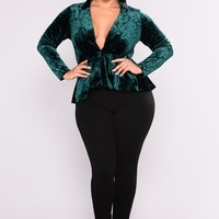 Evening Seduction Velvet Blazer - Emerald