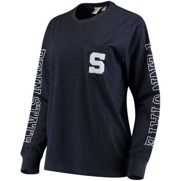 Women's Pressbox Navy Penn State Nittany Lions Mystic Pocket Long Sleeve T-Shirt