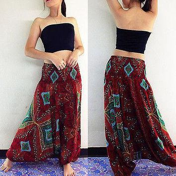 Fashion Comfy Beach Baggy Boho Gypsy Hippie Women Harem Pants Trousers Long Loose Pants