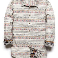 Classic Fit Tribal Print Shirt Cream/Red X-Small