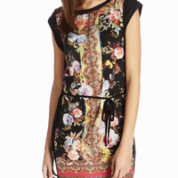 Black Floral Print Cap Sleeve with Waist Tie Tunic Mini Dress