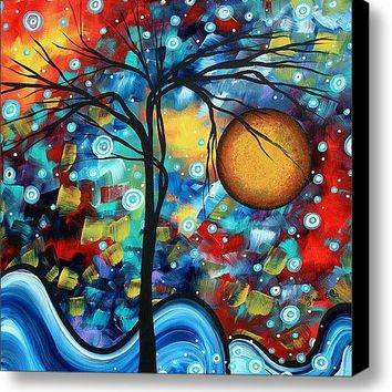 Abstract Landscap Art Original Circle Of Life Painting Sweet Serenity By Madart Stretched Canvas Print / Canvas Art By Megan Duncanson
