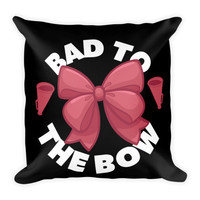 "Cheer Pillow 18"" Square - Bad to the Bow Pink / Black"