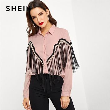 SHEIN Pink Contrast Fringe Embellished Curved Hem Blouse Elegant Pearls Button Beaded Blouses Women Autumn Workwear Shirt Tops