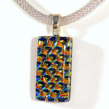 Orange Gold Dichroic Glass Necklace, Herringbone, Silver 16-18 Inch Necklace
