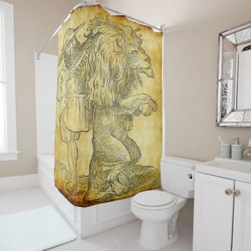 combing the lion shower curtain