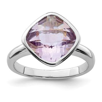 Sterling Silver Bezel Set Cushion Pink Quartz Rose De France Amethyst Ring