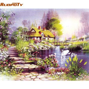RUOPOTY Frame Countryside House DIY Painting By Number Modern Landscape Handpainted Oil Painting Wall Art Picture For Home Decor