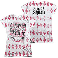 Suicide Squad Property Of Joker Sublimated Juniors T-Shirt