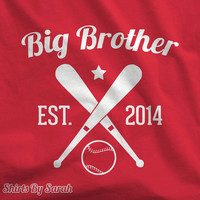 Boys Big Brother T-Shirt - Personalized  Baseball TShirts Kids Big Brother Youth Children's Custom Shirts