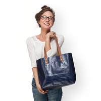 Large navy leather bag by Leah Lerner