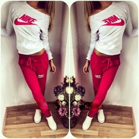Women Print Top Sweater Sweatshirt Pants Sweatpants Set Two-Piece Sportswear