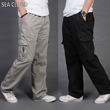 Sea Cloud Free shipping Men clothing loose casual cargo pants male plus size cotton overalls male long trousers L-6XL 11 colors