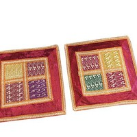 "Indian Sofa Cushion Covers Embroidered Patchwork Maroon Bohemian Pillow Cases 16"" x 16"""