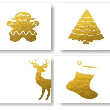 Set Of Four Prints For Christmas,Christmas Wall Decor For Kids,Baby Decor,Nursery Wall Decor,Printable Art,Gold Foil Prints,Class Room Decor